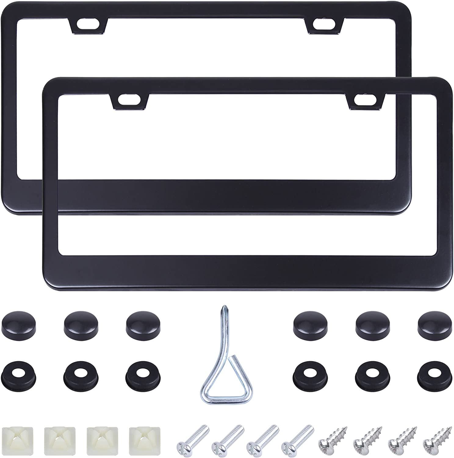 Stainless Steel Car Licence Plate 2 PCS with Screws Washers Caps for US Standard CARTMAN 2 Holes Black License Plate Frame