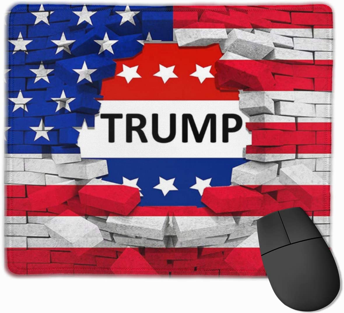 American USA Trump Flag Office Mouse Pad Work Computer Mouse Mat Soft Ultra Thick Premium-Textured with Stitched Edges Non-Slip Rubber Base Waterproof