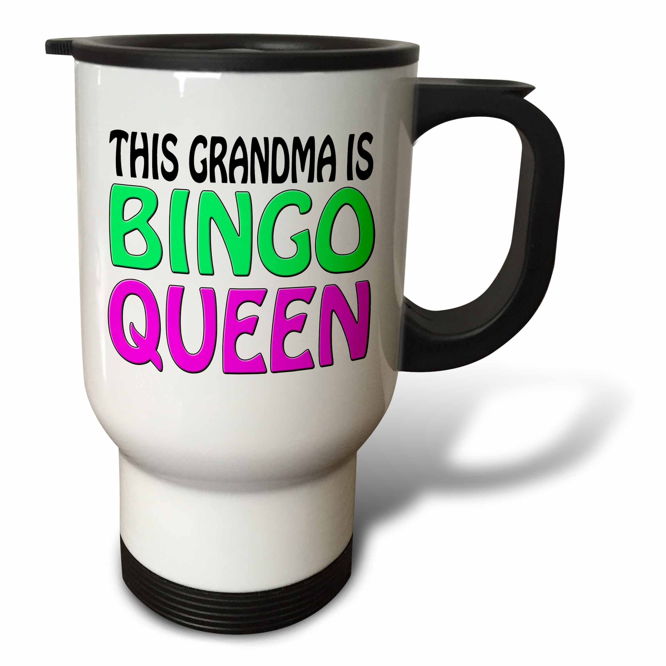 3dRose tm_149771_1 This Grandma Is Bingo Queen, Hot Pink, Lime Green, Travel Mug, 14-Ounce, Stainless Steel