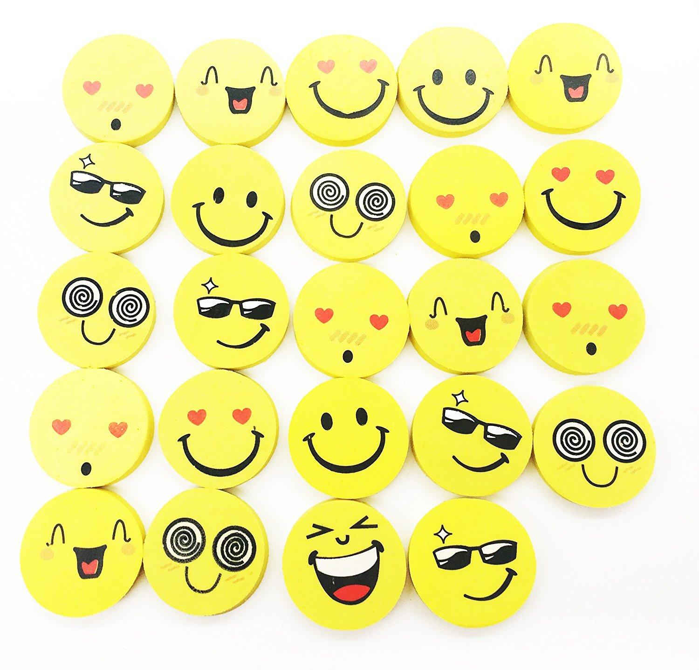 Ainxin - Set di 24 gomme da cancellare a forma di emoticon, ecologiche, faccine scelte casualmente, ideali come regalino in classe e feste per bambini Emoji Erasers-24pcs