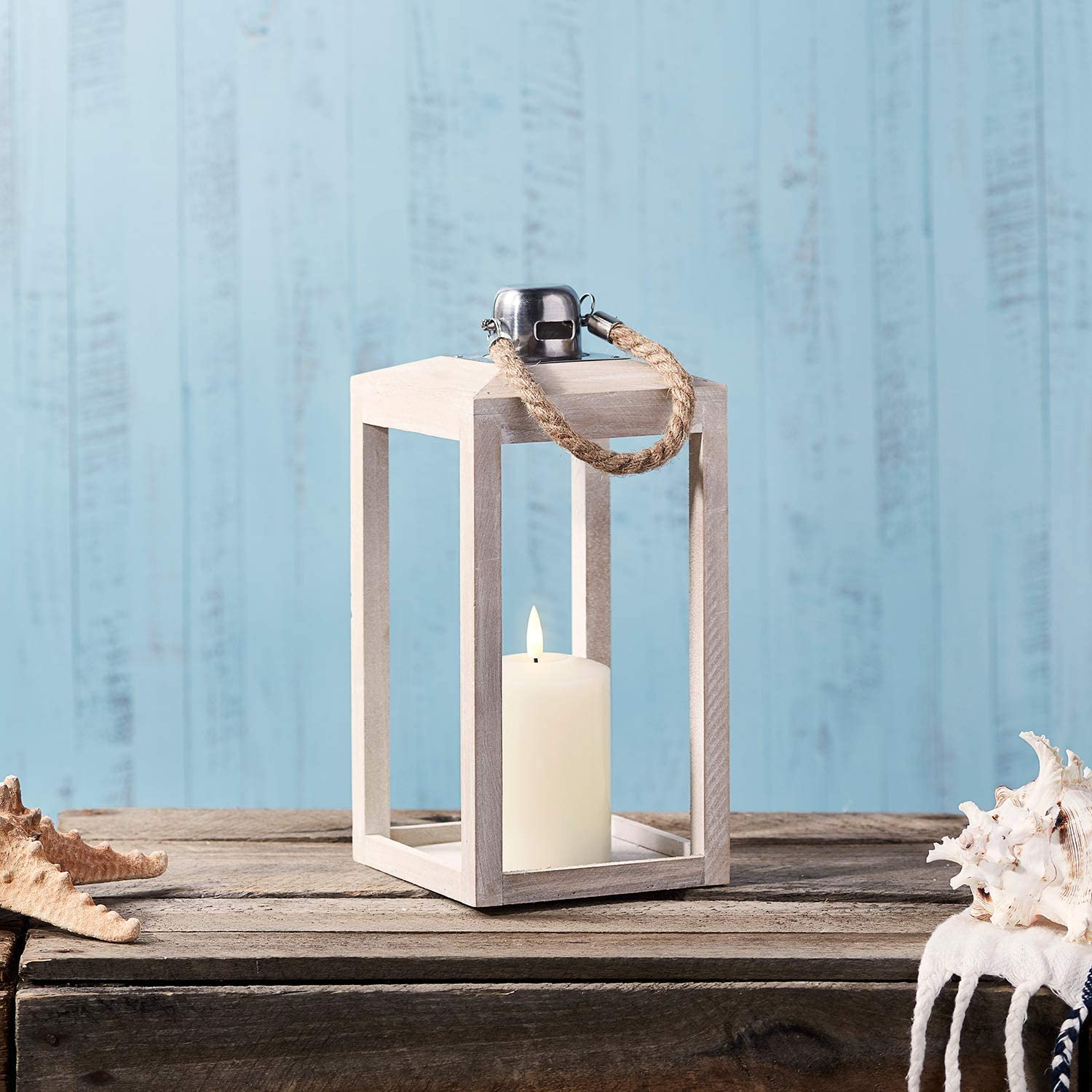 Lights4fun, Inc. Regular White Wooden Battery Operated LED Flameless Candle Lantern with Rope Handle