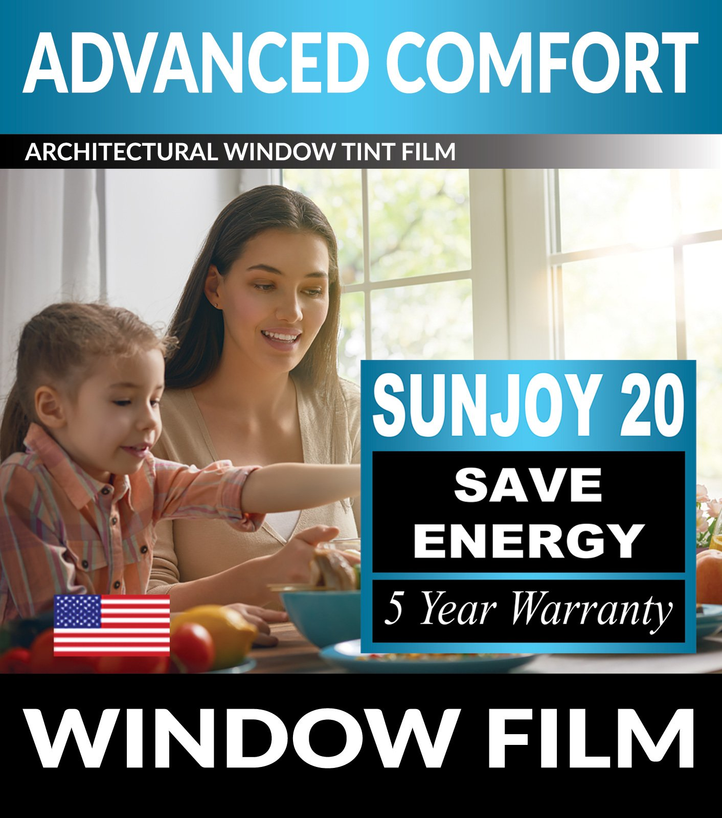 SunJoy 20 Home Commercial Window Tint Film Solar UV Glare Heat Control Privacy - 40 Inch By 10 Feet by The Black Box Tint (Image #1)