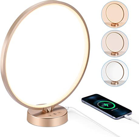 Light Therapy Lamp, SHELIVE UV-Free 10000 Lux Light Therapy Lamp with USB Port, Timer, Touch Control with 3 Adjustable Brightness Levels, for Bedroom, Office, Living Room (Champagne Gold)