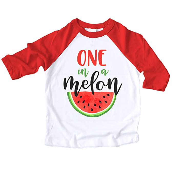 c249f7ad8 One in a Melon First Birthday Outfit for Toddler Girls First Birthday Shirt  red 3/