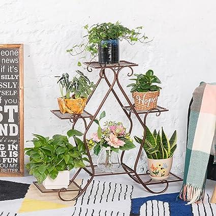 ZHIRONG Soportes Flower Racks Arte de hierro de pie Multilayer Balcón de la sala de estar