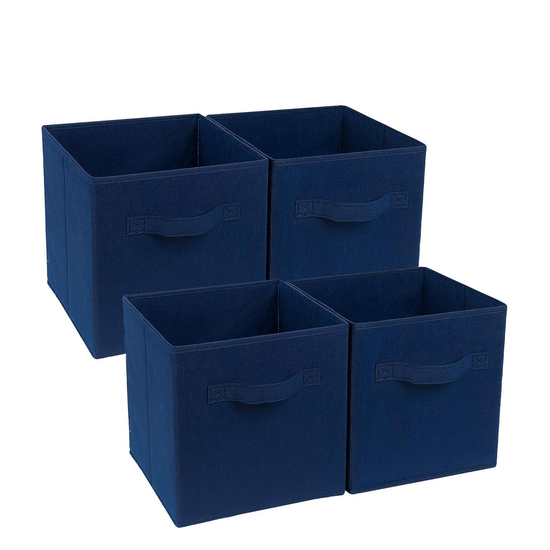zonyon 4-cubeストレージコンテナ、折りたたみ式ファブリックストレージキューブ、バスケット、本棚オーガナイザー、保育園Hamper withハンドルの女性、メンズ、キッズ、玩具、ベッドルーム、クローゼット、オフィス、11