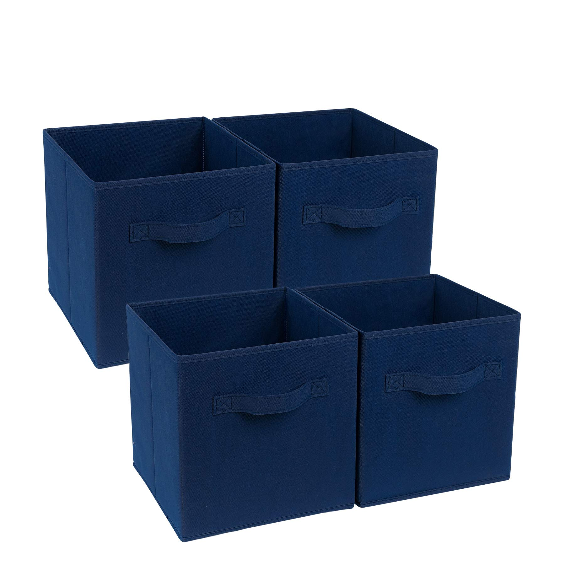4-Cube Heavy Duty Storage Container, Zonyon Foldable Fabric Storage Cube,Basket,Bookshelf Organizer,Nursery Hamper with Handle for Women,Men,Kids,Toys,Bedroom,Closet,Office,11''X11''11'',Navy Blue