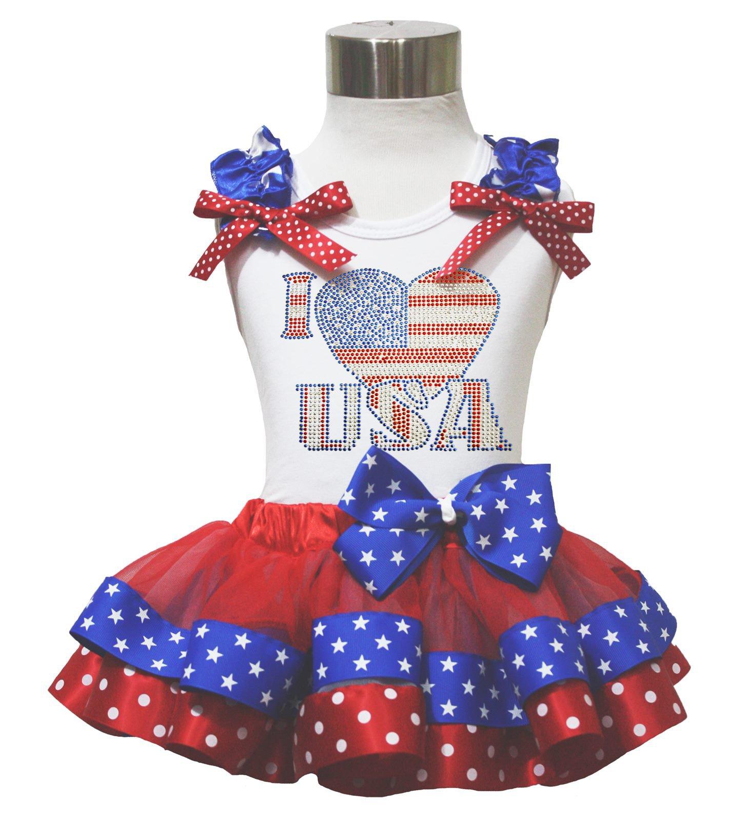 4th July Rhinestone I Love USA White Top Red Blue Satin Trim Girls Skirt Nb-8y (4-5year)