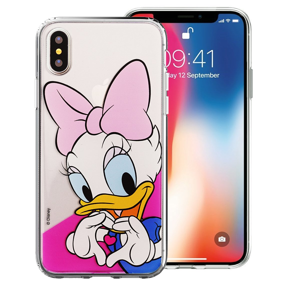eae49fc1fd Amazon.com: iPhone Xs Case/iPhone X Case Disney Cute Soft Jelly Cover for [ iPhone  Xs/iPhone X ] Case - Heart Daisy Duck: Cell Phones & Accessories