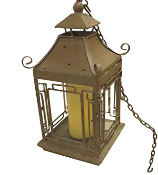 pagoda candle lantern green asian japanese table hanging outdoor - Outdoor Candle Lanterns