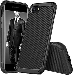 DUEDUE iPhone SE 2020 Case, iPhone 8 Case, iPhone 7 Case, Dual Layer Carbon Fiber Slim Hybrid Shockproof Hard PC Bumper Rugged Back Case for iPhone SE2/7/8, Camo Black