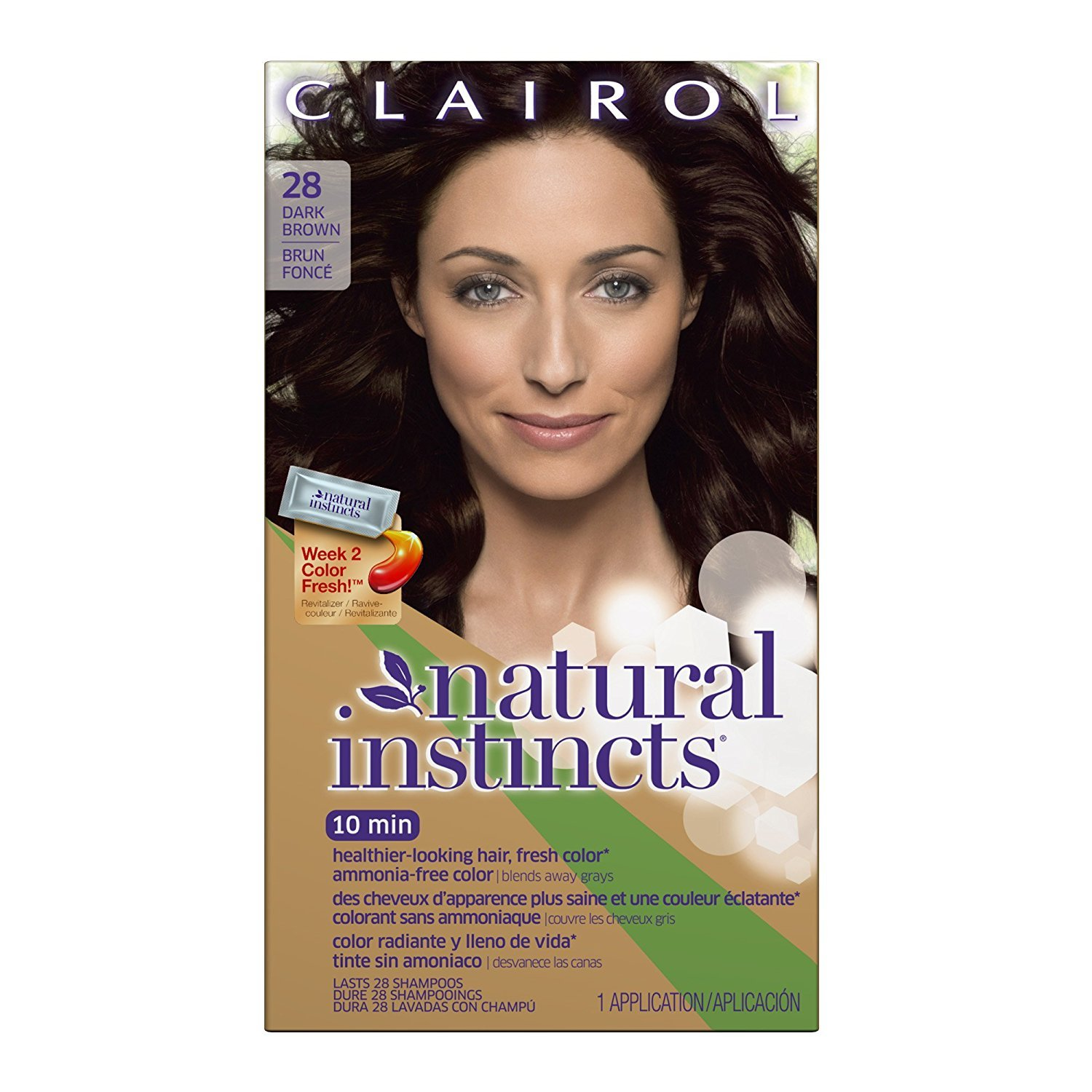 Clairol Natural Instincts Semi-Permanent Hair Color (Pack of 3), 28 Nutmeg Dark Brown Color, Ammonia Free, Long Lasting for 28 Shampoos