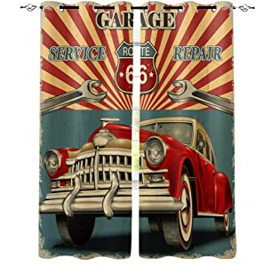 Edwiinsa Vintage Garage Repair Advertising Automobile Rustic Vehicle Kitchen Blackout Curtains Window Drapes Treatment, 2 Panels Set for Kitchen Cafe Office, 80W x 84L inch