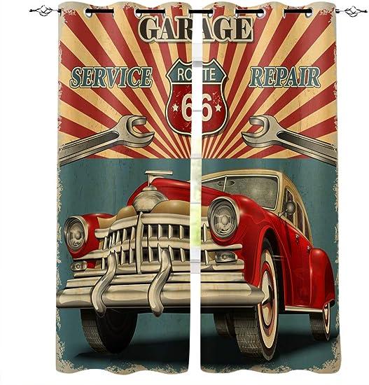 Edwiinsa Vintage Garage Repair Advertising Automobile Rustic Vehicle Kitchen Blackout Curtains Window Drapes Treatment