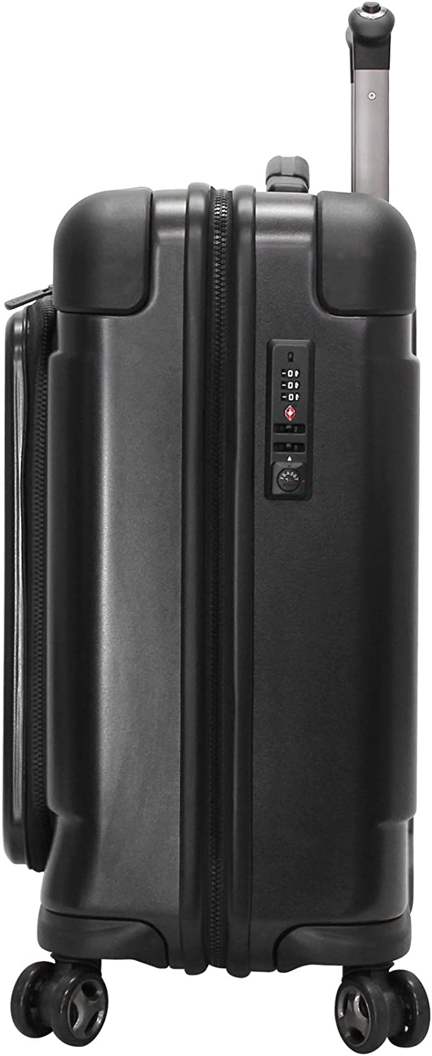 Andiamo Pantera 20 Hardside Carry-On Luggage With Spinner Wheels 20in, Carbon Black