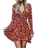 Relipop Women's Dress Floral Printed V-Neck Flare Long Sleeve Ruffle Hem Dresses with Drawstring