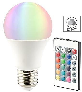 Luminea LED Farblampe: LED-Lampe, Color RGB & Warmweiß, E27, 10 Watt ...