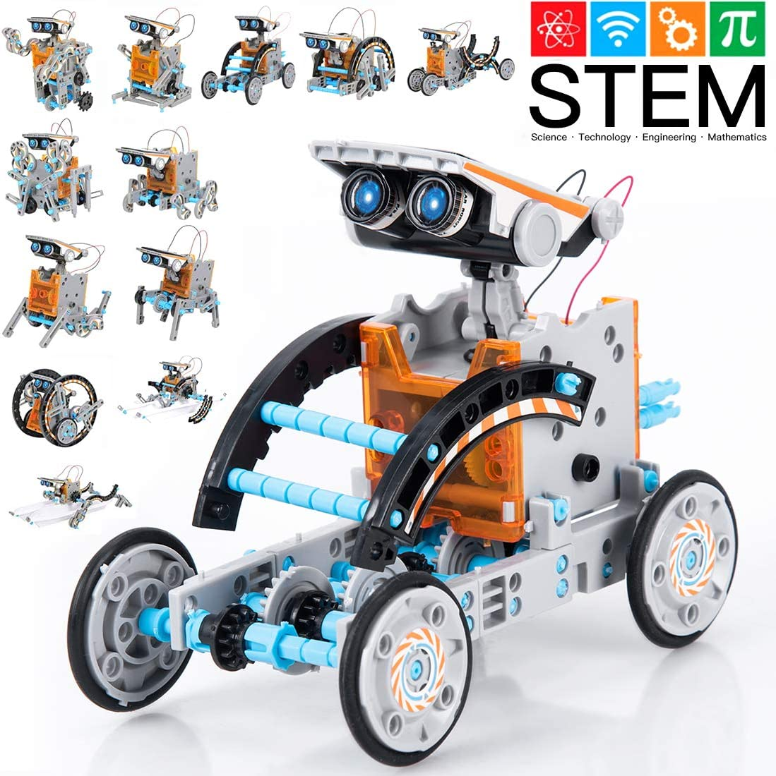 GARUNK STEM Solar Robot Kit 12 in 1 Educational STEM Learning Science Building Toys for Kids Teens and Science Lovers Age 10 11 12+ Years Old Boys and Girls