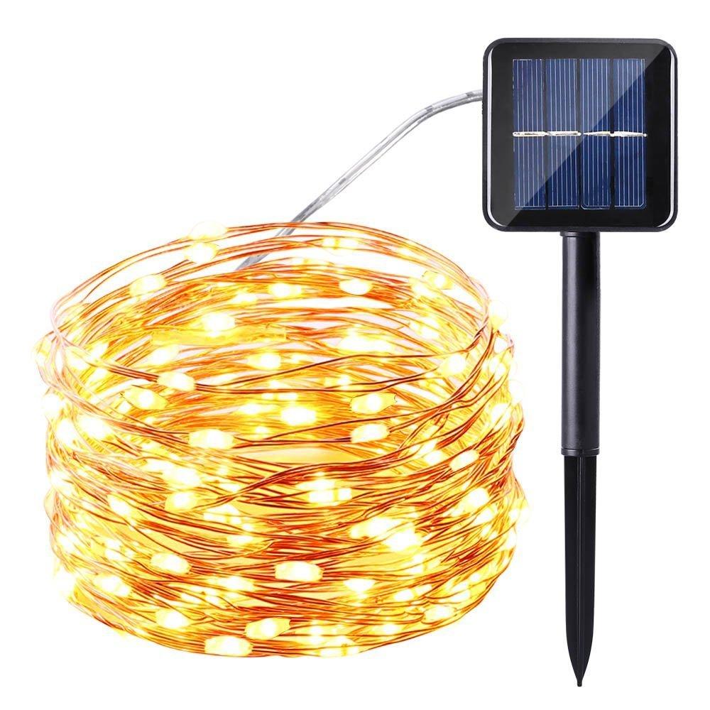 Qedertek LED Solar Lichterkette Kupferdraht 10M 100er 8 Modi ...