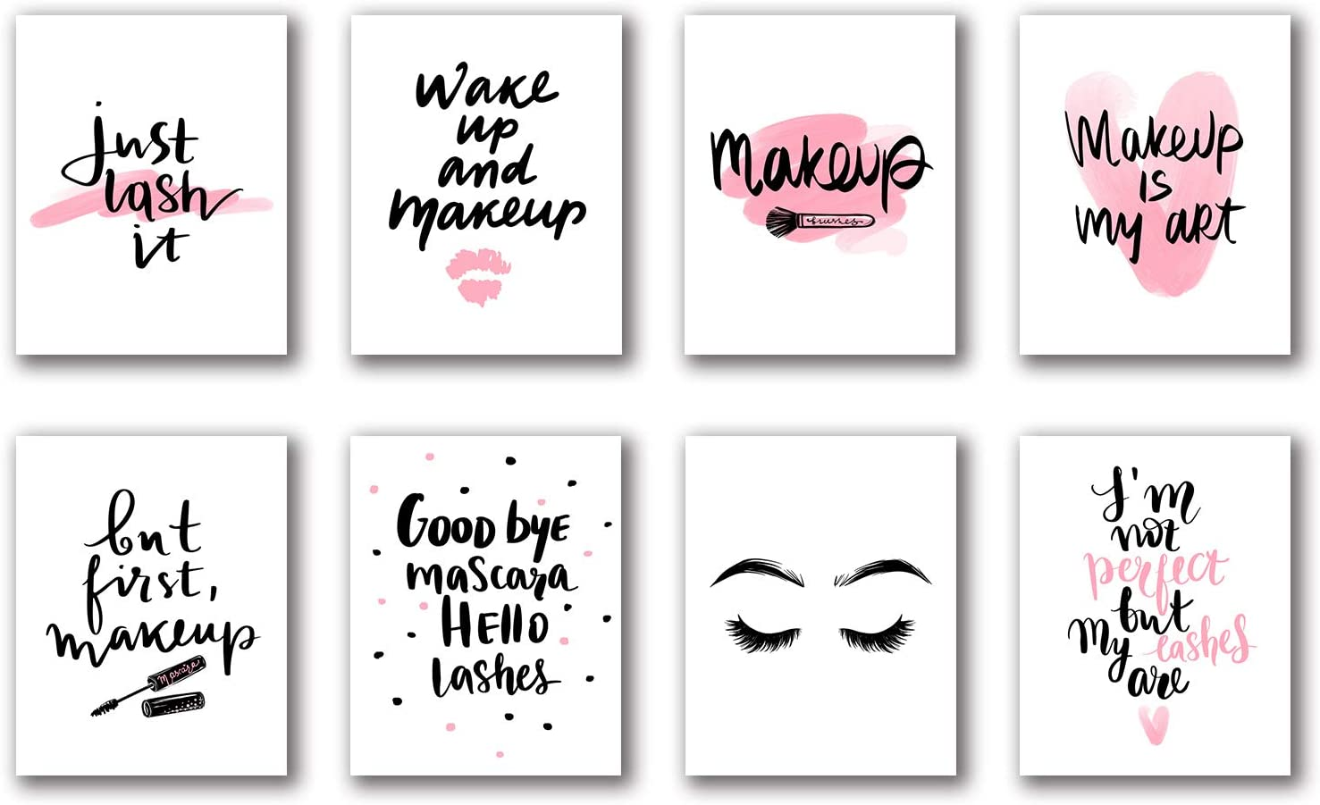 """Fashion Women Makeup Art Painting Set of 8 (8""""X10"""" Canvas Picture),Lips and Lashes Brows Art Print Poster Inspirational Phrase Girls Gifts Bedroom Living Room Bathroom Spa Room Home Decor No frame"""