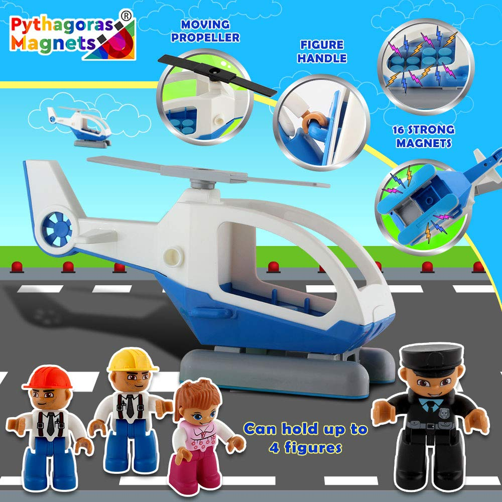 Flying Helicopter Toy Police Set with Magnets Flying Magnetic Plane - Policeman Toys Add on Sets for Magnetic Blocks - Magnetic Tiles Expansion Kids Educational STEM Learning Toys for Boys and Girls by Pythagoras Magnets (Image #7)