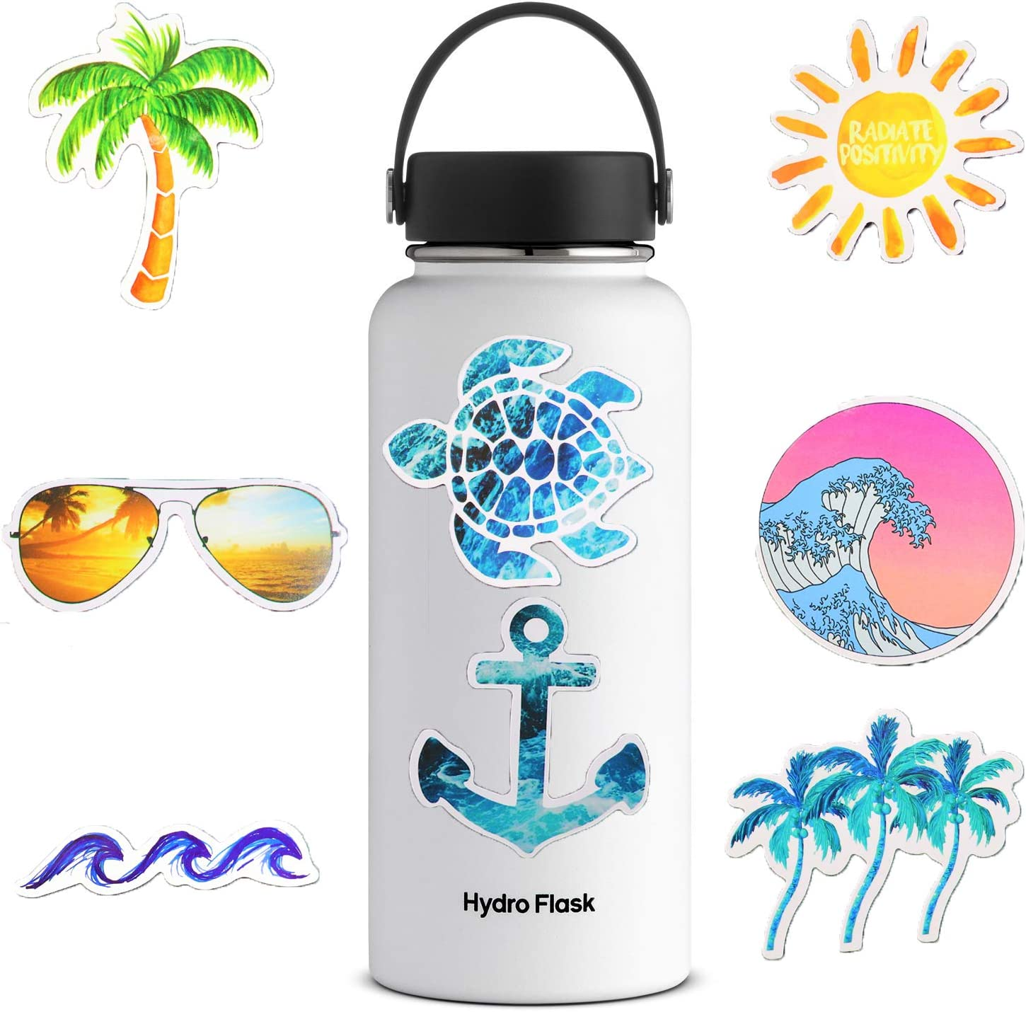 Cute Ocean/Beach Trendy Vinyl Stickers (50 PC) VSCO Pack for for Laptop, Hydro Flask, Water Bottles, Phone, Ipad, Luggage. Asthetic Decals for Teens, College Students. Extra Durable Vinyl, Waterproof