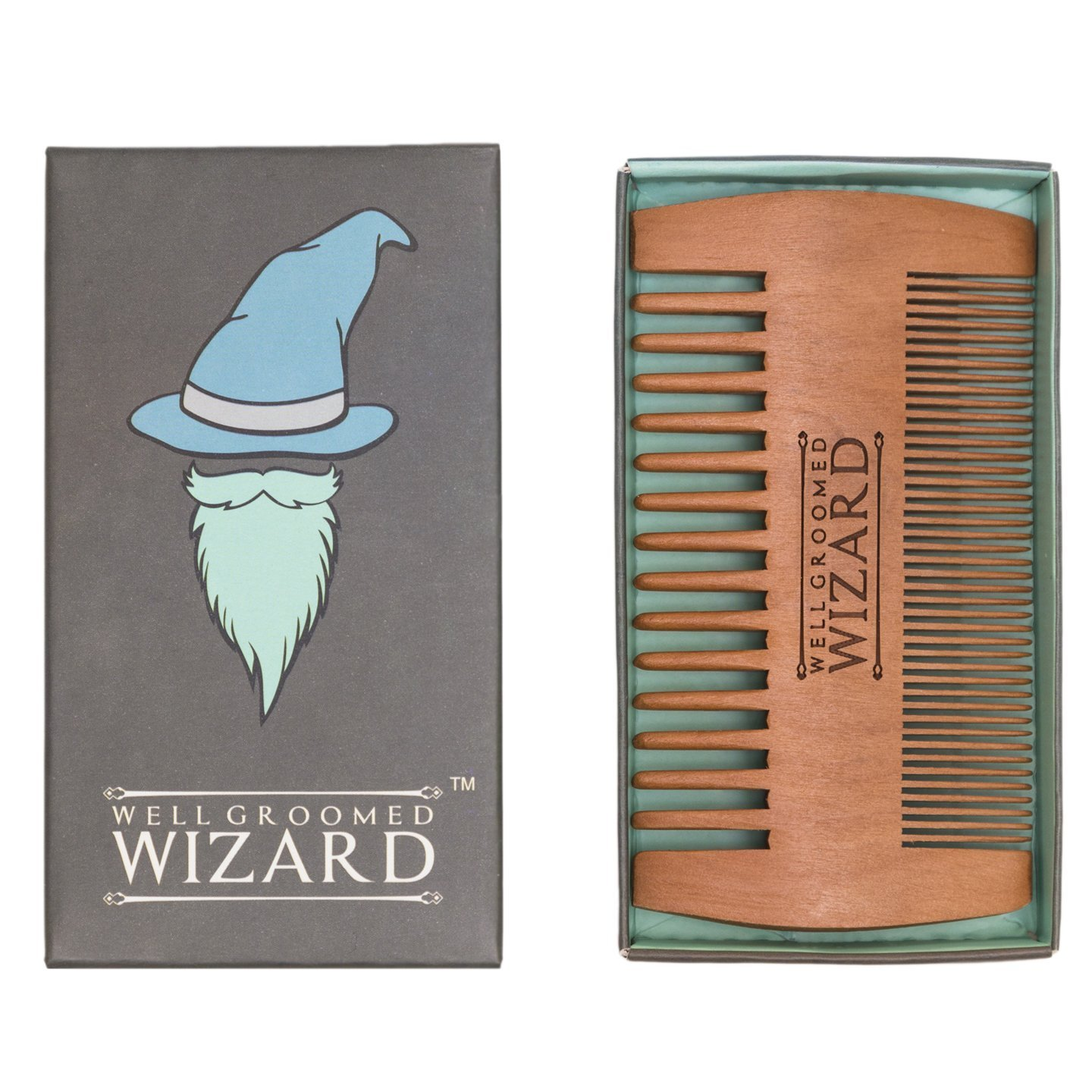 Well Groomed Wizard Wooden Beard Comb for Men, double sided Anti-static Beard Grooming Comb DSBC1