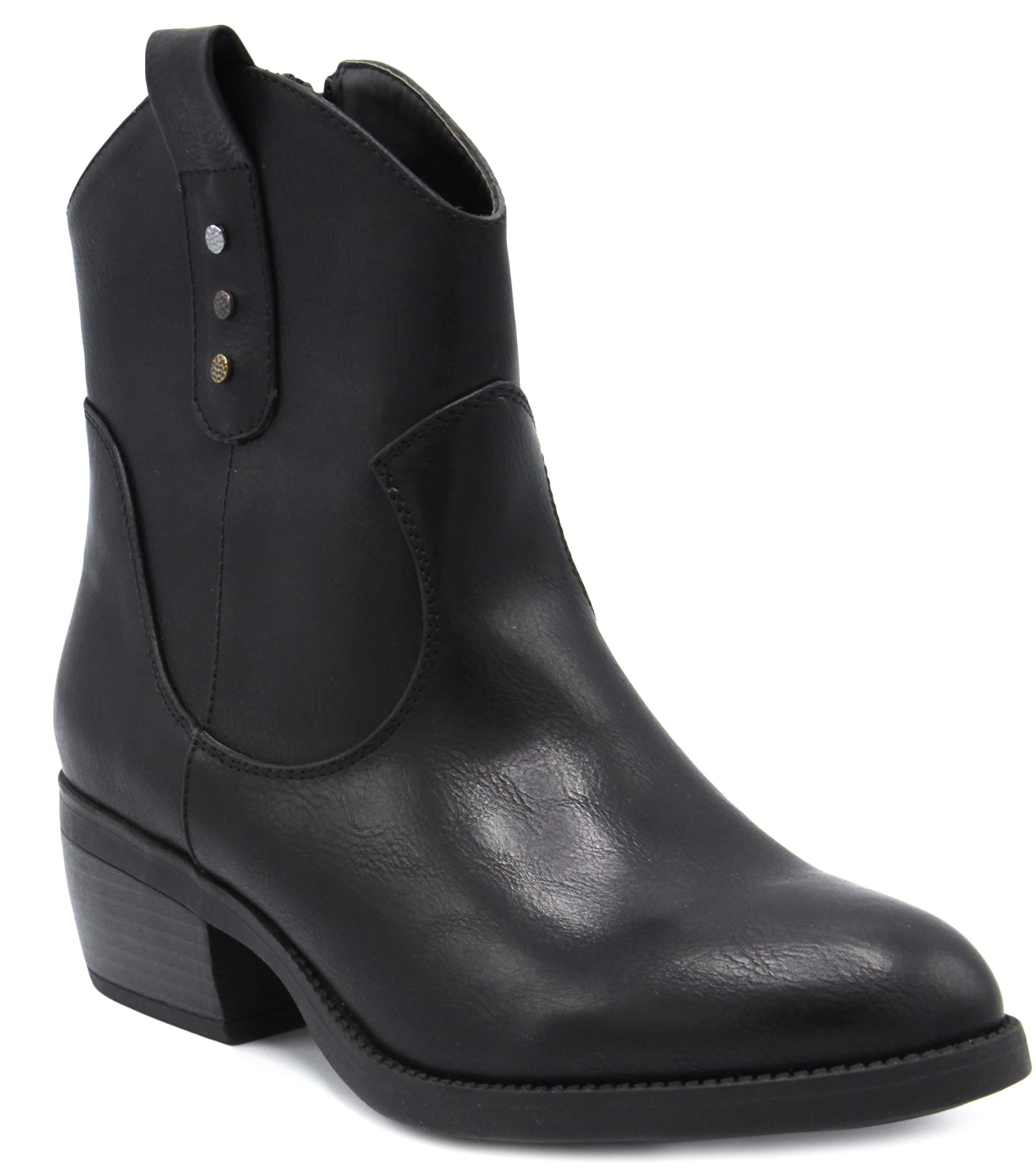 Rampage Women's Thriller Low Shaft Mid Calf Western Ladies Boot with Side Zip Black 8
