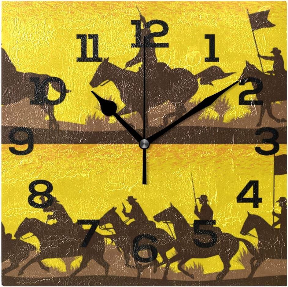 AMONKA - Reloj de Pared Cuadrado, diseño de Siluetas de caballería Battlefield