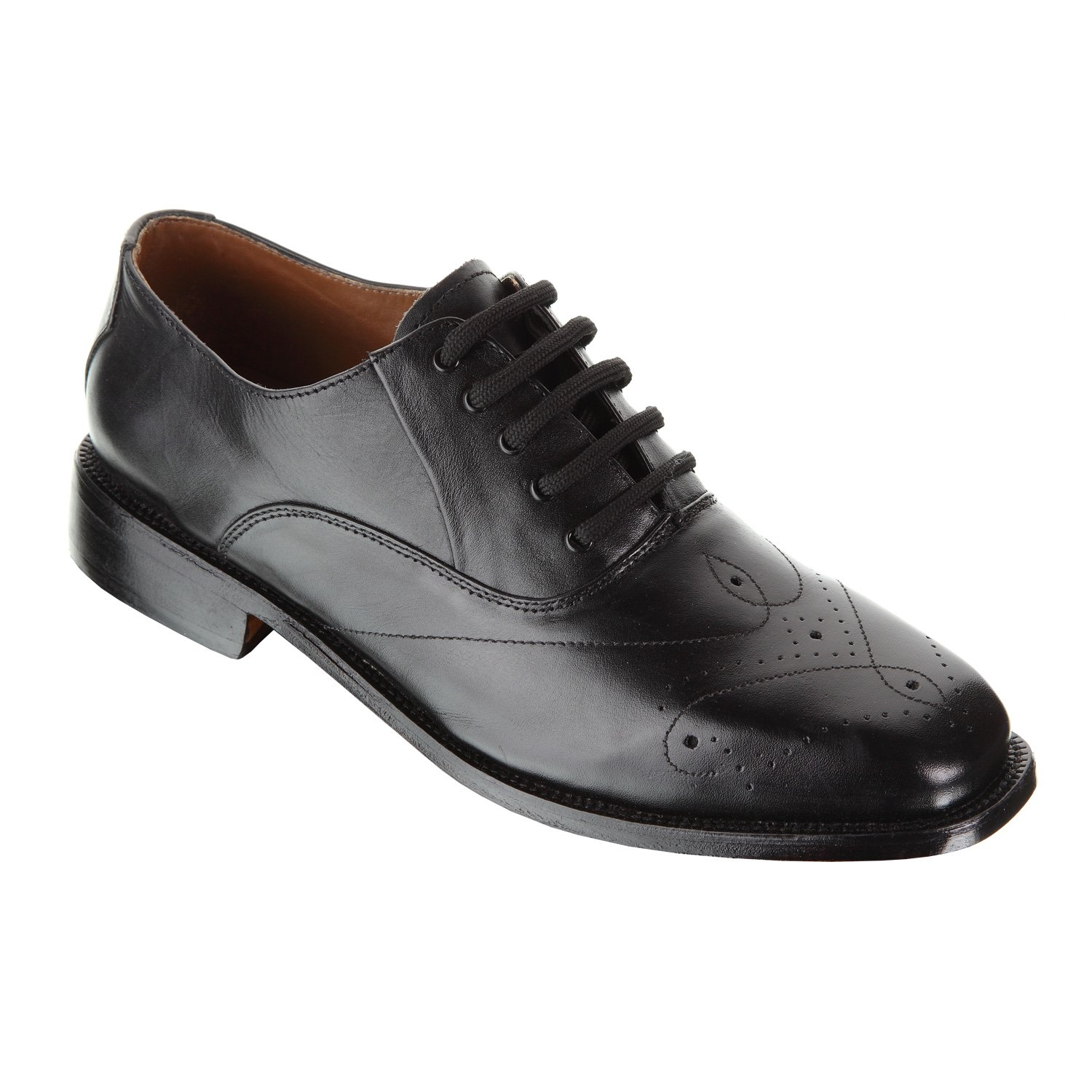 Handmade Damen Frost Paris Mens Wing Tip Oxford Leather Shoes, Hand burnished leather, Color Black, Size US12