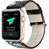 YOSWAN Bracelet for Apple Watch, National Black White Floral Printed Leather Watch Band 38mm 42mm Strap for Apple Watch Flower Design Wrist Watch Bracelet