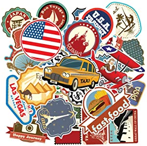 LAIK 100Pcs Travel Map Laptop Stickers World Famous Tourism Country & Regions Waterproof Stickers - Travel Map National Flag, for Luggage, Skateboard, Laptop, Suitcase, Book Covers (Travel Map)