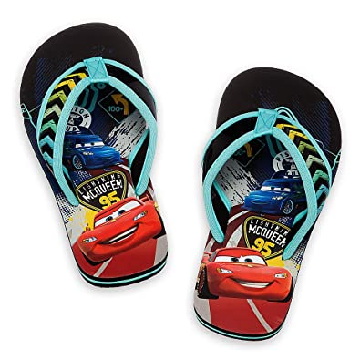 d88ccbb46d79 Disney Store Boys Cars Lightning McQueen Brake Shoes Flip Flops (7-8 US  Toddler