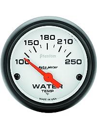 "Auto Meter 5737 Phantom 2-1/16"" 100-250 F Short Sweep Electric Water Temperature Gauge"