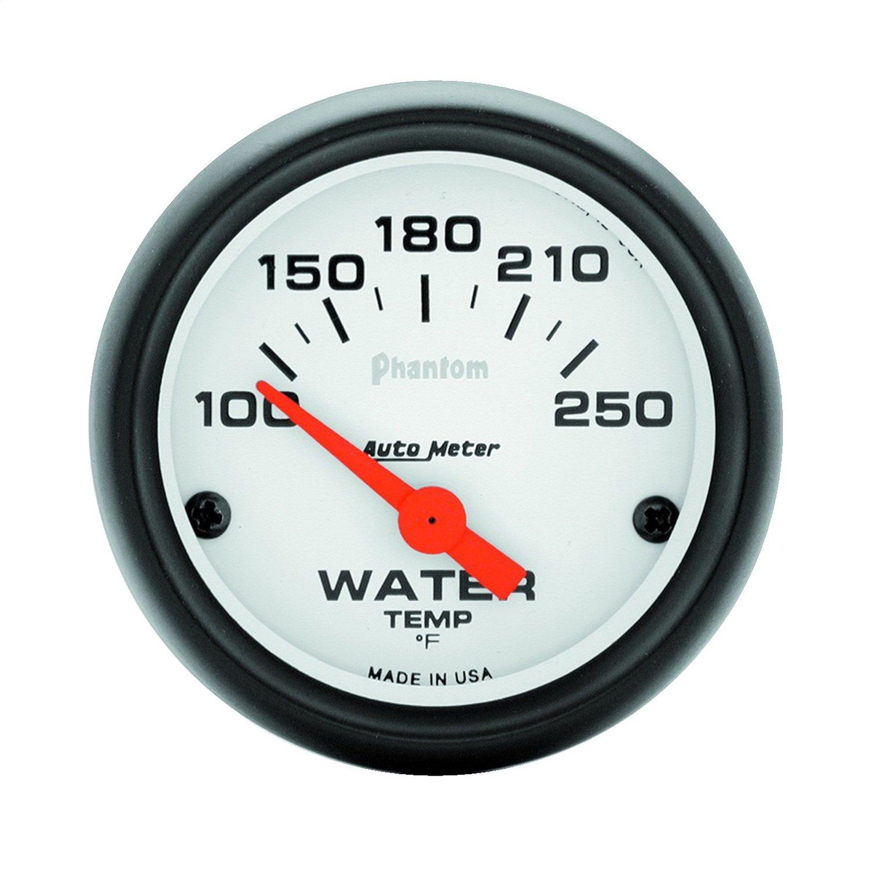 Auto Meter 5737 Phantom 2-1/16' 100-250 F Short Sweep Electric Water Temperature Gauge