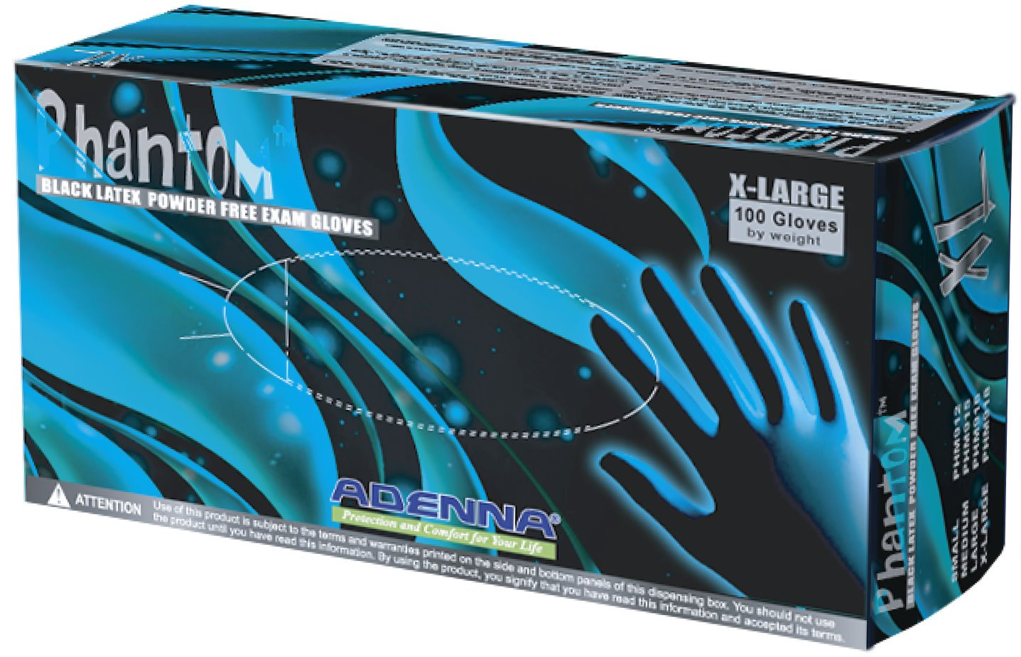 Phantom Black Latex Gloves- Examination Grade (Case of 10 boxes- Medium)