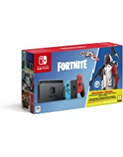 Nintendo Switch Neon Blue/Red Fortnite Edition with Fortnite Currency + Double Helix Bundle