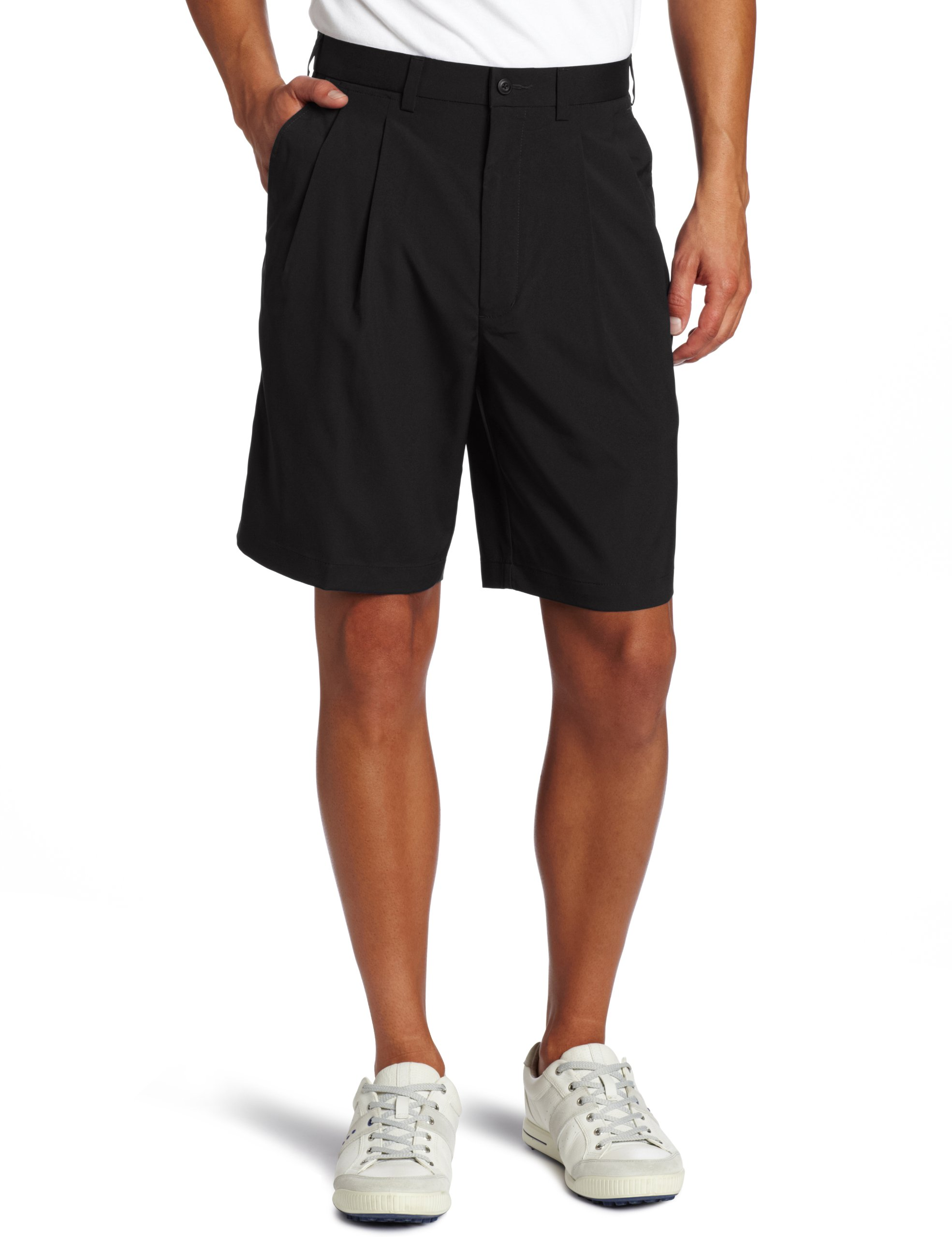 PGA TOUR Men's Comfort Stretch Double Pleat Short, Caviar, 32