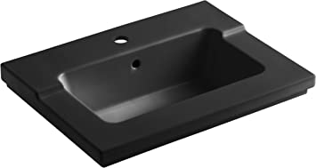 KOHLER K-2979-1-0 Tresham One-Piece Surface and Integrated Bathroom Sink with Single-Hole Faucet Drilling White