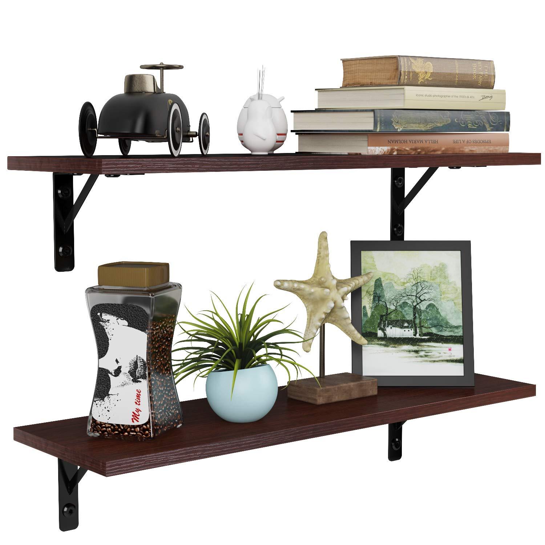 Homfa Floating Shelves Wall-Mounted Display Storage Ledge with Bracket for Bathroom, Kitchen, Living Room, Bedroom (2 Pack, Espresso)