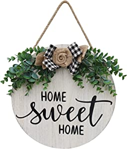 JIOSSNN Welcome Home Sweet Home Sign for Front Porch Door Decor Farmhouse Wreath Sign with Artificial Eucalyptus and Handmade Plaid Bows,Front Door Decorations Round Wood Sign Hanging,Housewarming for Home Decor,12