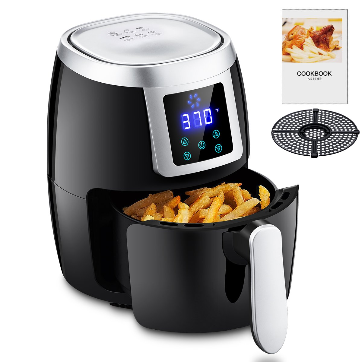 Mini Air Fryers 1000W 2L/2.2QT, Oil-less Air Cooker with Recipe Cookbook & Oil Draining Rack Hot Air Electric Air Fryer Simple Timer Temperature Control LED Display-Black