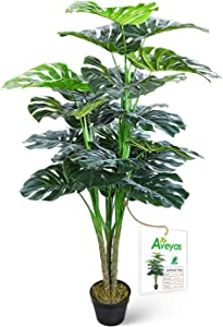 Aveyas 4.5ft Artificial Monstera Deliciosa Adansonii Tree in Plastic Nursery Pot, Fake Tropical Split Leaf Plant for Office House Living Room Home Decor (Indoor/Outdoor)