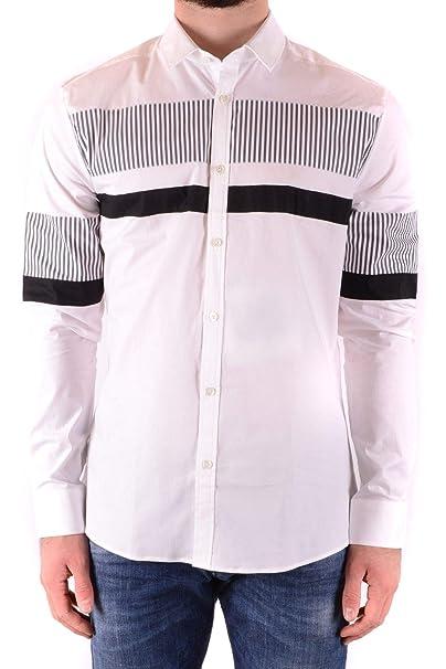 timeless design fa124 953a0 LES HOMMES Camicia Uomo MCBI36719 Cotone Bianco: Amazon.it ...
