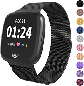 Limque Magnetic Bands Compatible with Fitbit Versa/Versa 2/Versa Lite/SE, Women Men Metal Adjustable Replacement Wristband for Fitbit Versa Smart Watch Multi-Color (Black, Small)