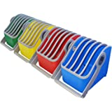 LocknCharge LNC7052 Small 5-Slot Plastic Device, Basket, Blue/Green (Pack of 4)