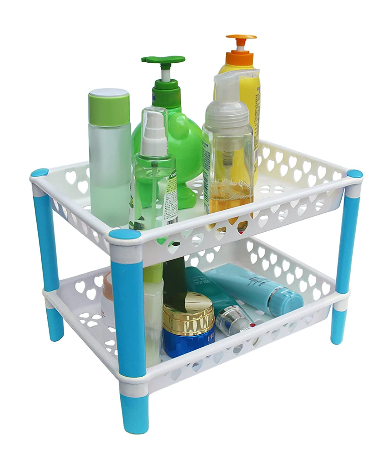 Honla 2-Tiered Plastic Bathroom Shelves Organizer with Perforated Baskets-Small Shelving Units/Drying Rack for Organization, Free Standing, Blue and White