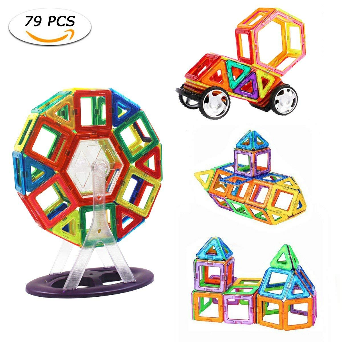 BAZOVE Magnetic Building Blocks, 79Pcs Magnetic Construction Blocks Rainbow Color Enducational Stacking Toys Set with Ferris Wheel & Car Wheel for Kids Toddler Creativity and Fun