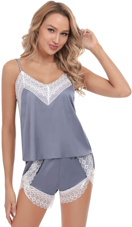 Aiboria Pijama Mujer Seda Verano Cortos 2 Piezas sin Mangas Suave Ropa Mujer,Pijama Mujer Verano Corto,Regalos para Mujer Adolescentes