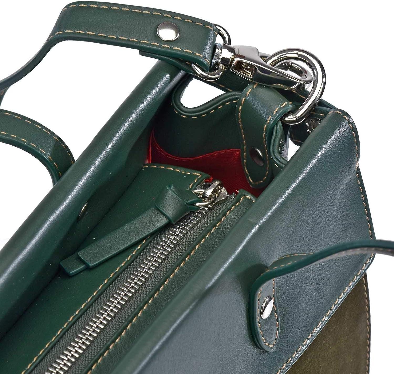 DAVILETTO Borsa Carryall Donna Pelle Esterno Frange Tracolla rimovibile Guy LAROCHE 12352 Verde